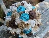 Turquoise Burlap and Lace Brides Bouquets, Bridesmaid, and Boutonnieres Custom Wedding Arrangements with Fabric Flowers, Keepsake Bouquet
