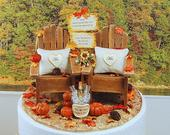 Fall Barn Wedding Cake Topper 6 Inch, Base Fits 6 Inch Tier, Handmade Rustic Adirondacks, Custom Sign, Beverage, Bouquet, More
