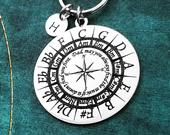 Circle of Fifths Keychain 38mm Circle Keychain Initial Keychain Dad Keychain Music Keychain Engraved Keychain Personalized Keychain Custom