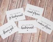 Bridesmaid Proposal Cards Set INSTANT DOWNLOAD Printable DIY, Will You Be My Bridesmaid, Maid of Honor, Matron, Flower Girl, Jr. Print Out