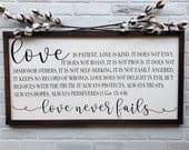 Love is Patient Love is Kind Framed wood Sign Scripture Decor 1 Corinthians 13 Master Bedroom Decor Farmhouse style Wedding gift
