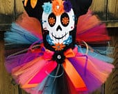 COCO Inspired disney TUTU Dress Set, inclides a 3D Flower Day of the Dead Skull Shirt, Fluffy Full Tutu and Flower Hairbow Ready to Ship
