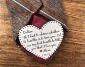 If I Had To Choose Whether To Breathe Or To Love You VALENTINES DAY Tie Patch, Gift for Him, Sew, Iron On, 2.25 Heart Shape, Ink Print