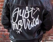 Custom Black Leather Jacket / White Hand Lettered / Calligraphy / JUST MARRIED / Unisex Size Small / Nice Leather / Just Married BRIDE