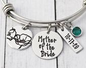 Personalized Mother of the Bride Bracelet Mother of the Groom Jewelry Bangle Mother of the Bride Gift Wedding Gift for Mom