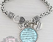 Mother of the Groom Gift, Personalized Wedding Bracelet, Message, My Heart is so Grateful, Wedding Date JewelryGift for Mother of Groom