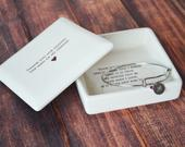 Mother of the Groom Gift Square Keepsake Box with Personalized Silver Charm Bracelet Thank You For Raising the Man of My Dreams