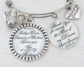 Mother of the Groom Bracelet Personalized BANGLE Bracelet Gift from Bride and Groom Thank You Wedding Parent Gifts Wedding Keepsake
