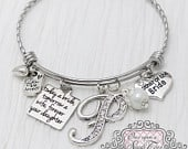 Mother of the Bride Bracelet Today a Bride Tomorrow a Wife Initial Bridal JewelryExpandable BangleCharm Bracelet, White, Mother of Bride
