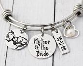 Personalized Mother of the Groom Gift Mother of the Groom Bracelet MOG Bangle Mother of the Bride Jewelry Wedding Gift for Mom
