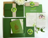 Boarding Pass and Passport Destination Wedding Invitation Suite Custom, Green Leaves, No Flowers, Airline Plane Ticket, Booklet Invite