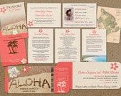 Passport Invitations for Wedding in Hawaii Boarding Pass Set , Hibiscus ad Coral, Complete Set, Save Dates, Main invitations