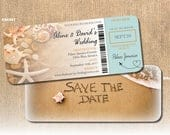 Beach Boarding Pass Save the Date Save the Date Written in Sand Coral Shells Starfish Heart Airplane at Destination