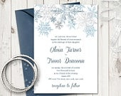 Winter Wedding Invitation Template Snowflakes, Silver Blue. DIY Christmas Printable Invite Template. Editable Text, Word. Instant Download.