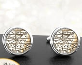 Map Cufflinks Findlay Ohio Handmade Cuff Links City State Maps OH Groomsmen Wedding Party Fathers Dads Men