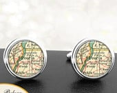 Map Cufflinks Illinois Peoria Handmade Cuff Links City State Maps IL Groomsmen Wedding Fathers Dads Men Gifts For Him