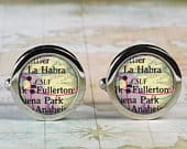 Cal State at Fullerton cuff links, CSUF cufflinks CSUF Titans alumni graduation gift wedding gift Fathers Day college map cuff links