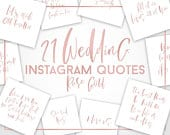 Wedding Instagram Quotes, White and Rose Gold wedding branding kit, wedding planner, wedding photography, Instagram Template, Romantic Quote
