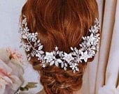 Silver or Rose Gold Bridal Hair Vine Wreath Freshwater Pearl Wedding Headpiece Weddings Accessory Jewelry Head Piece Party Anniversary Gift