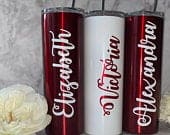 Set of Tumblers with Straw, Bridesmaid Gift, Bridesmaid Proposal, Burgundy Bachelorette Tumblers, Personalized Stainless Steel Tumbler