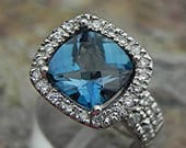AAAA London Blue Topaz 9x9mm 3.40 Carats 14K White gold diamond (.65ct) Bridal set. BH99 1890