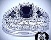 Black Diamond on White Gold Royal Engagement Ring Set