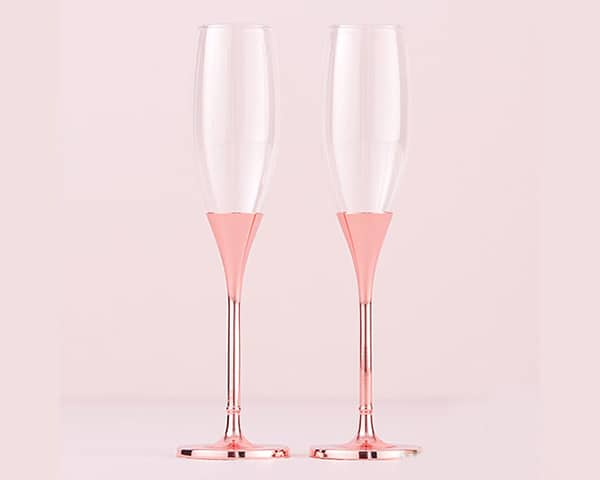 Rose Gold Diamond Glitter Toasting Flutes