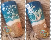 Beach Tumbler Saltwater Fixes Everything Glitter Stainless Steel Ozark/RTIC/Yeti Cup Mexico Vacation Destination Wedding