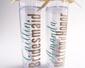 7 Personalized Bridesmaid skinny tumbler with glitter vinyl gift set wedding party gift acrylic tumbler cups