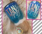 Beach Tumbler Tan and Tipsy Stainless Steel Ozark/RTIC/Yeti cup Bachelorette Destination Wedding Glitter Mexico Vacation