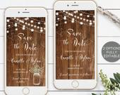 Save the Date Template, Electronic Smartphone Digital Editable Invitation, Rustic String Lights Wood Mason Jar IPhone SMS TEMPLETT SW100