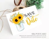 PRINTED Mason Jar Save the Date postcard printed Rustic country wedding save the dates Backyard, barn wedding save the date