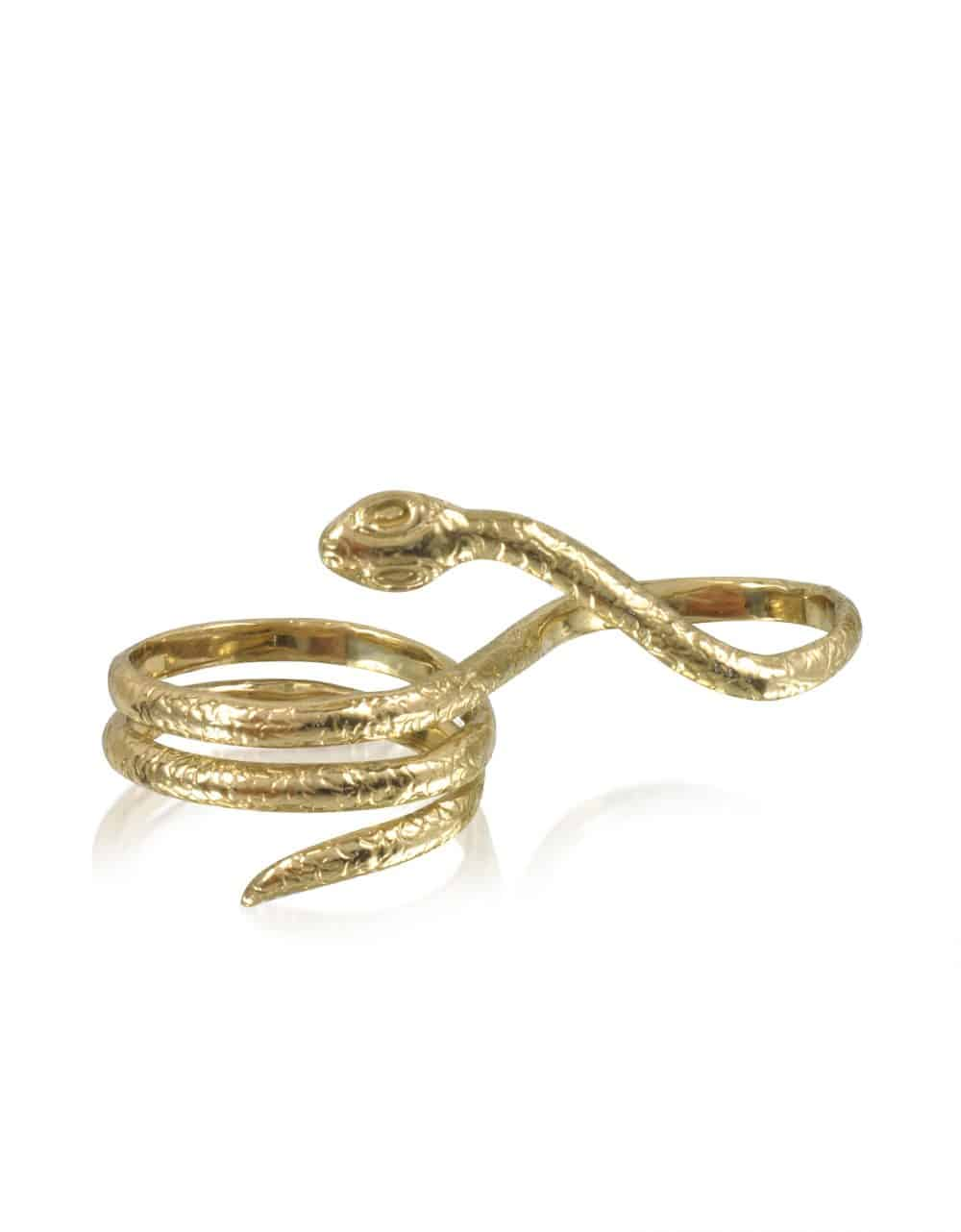 Bernard Delettrez Rings Two Fingers Bronze Ring w/3 Laps Snake