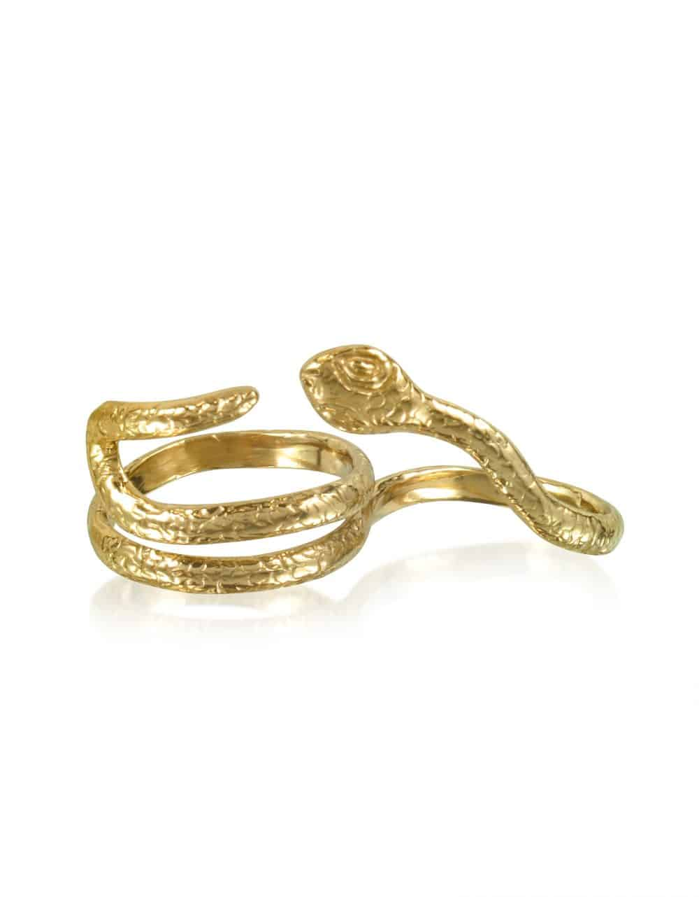 Bernard Delettrez Rings Two Fingers Bronze Ring w/2 Laps Snake