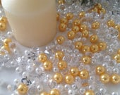 500 Pcs Pearls Diamond Mixes Ivory/Gold Pearl, Clear Diamonds For Candle Votive Fillers, Table Scatter/Confetti and wedding decors