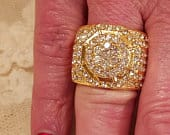 Large Engagement White Topaz Round Cut Intricate Gemstone Gold Plated Wide Band Size 8