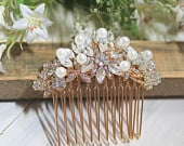 Bridal Rose Gold Crytal Pearl Hair Comb. Vintage Rhinestone Flower Jewel Wedding Headpiece. ROSANNE