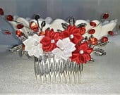 Red White Flower Hair Comb, Wedding Hair Comb, Bridal Hair Accessories, Floral Hairpiece, Wedding Accessory, Silver Hair Comb, Red Hair Comb