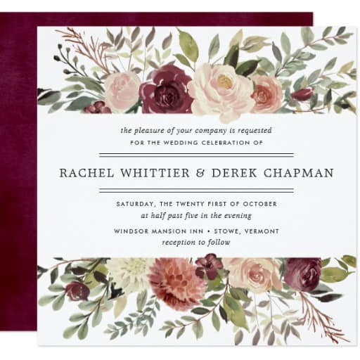 Rustic Bloom Wedding Invitation Square