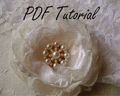 Jessie Glass ivory pearl brooch beading pattern Fabric flower brooch bouquet component Wedding decoration sash belt hair pin applique