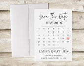 Save the Date Card, Calendar Save the Date, Save the Date without Photo, Save Our Date, Engagement Announcement, Simple, Minimal, Clean