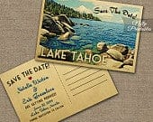 Lake Tahoe Save The Date Postcards Vintage Destination Wedding Save The Date Postcard Printable Lake Tahoe Wedding Save The Date VTW