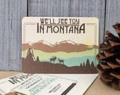 Brown and Teal Montana Rocky Mountains Save the Date Postcards with Elk // Vintage Wedding Save the Date Postcards