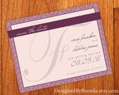 Monogram Save the Date Postcard Modern Herringbone Chevron STD Card Mauve, Wine Blush color scheme can be any color! Free Shipping