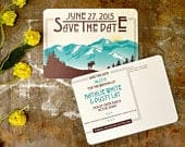 Denali Alaskan Mountains (Yellow Blue) with Moose Sunrise Save The Date Postcard