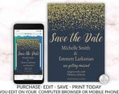 Navy Blue and Gold Save the Date Printable Card Editable Template Online Cheap DIY Wedding Save the Date Electronic Textable Elegant Modern