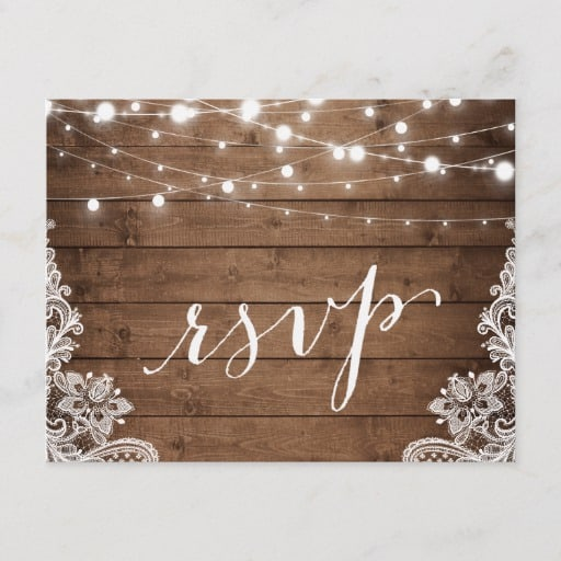 Barn Wood Twinkle Lights Lace Rustic Wedding RSVP Invitation Postcard