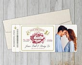 Winery Boarding Pass Save the Date with Optional Magnetic Backing // Vintage Winery Save the Date // Destination Save the Date // Photo