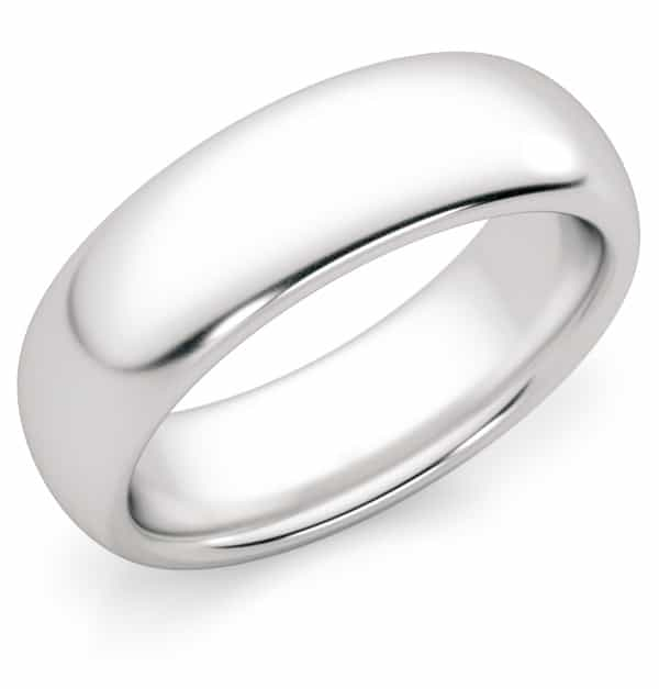 6mm Platinum Plain Wedding Band