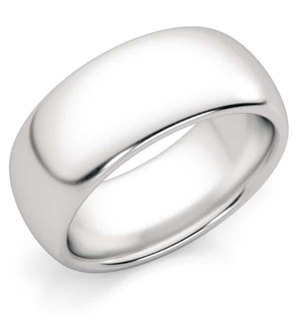 8mm Comfort-Fit Platinum Plain Wedding Band Ring